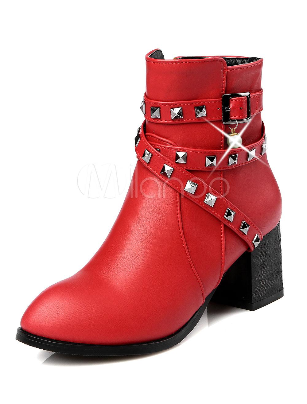 Buy Red Ankle Boots Women Biker Booties Round Toe Rivets Mid Heel Booties for $44.99 in Milanoo store