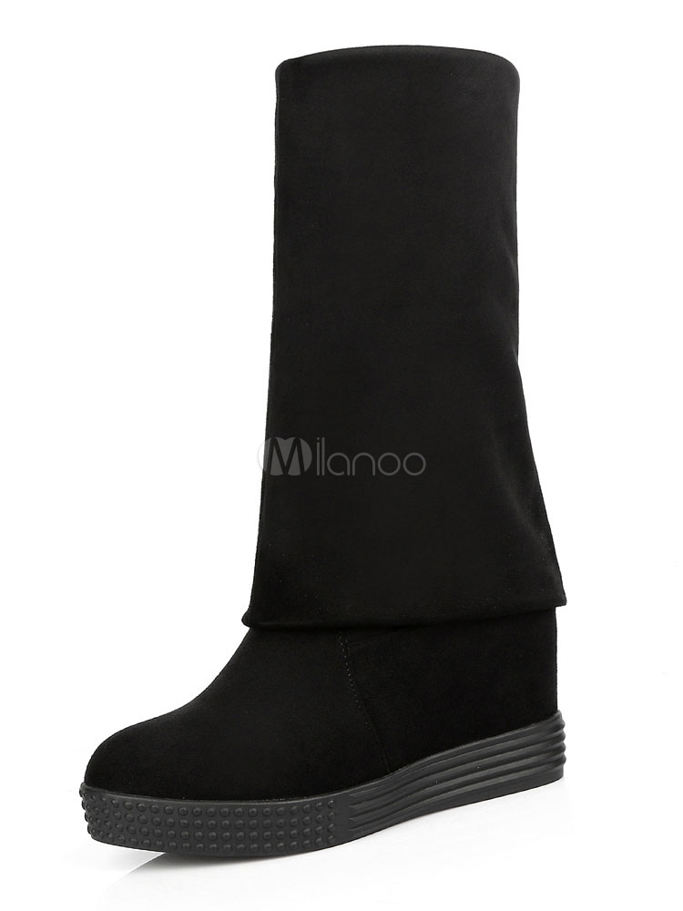 Botas sobre la rodilla con pala de gamuza negras Color liso estilo informal JMBNS