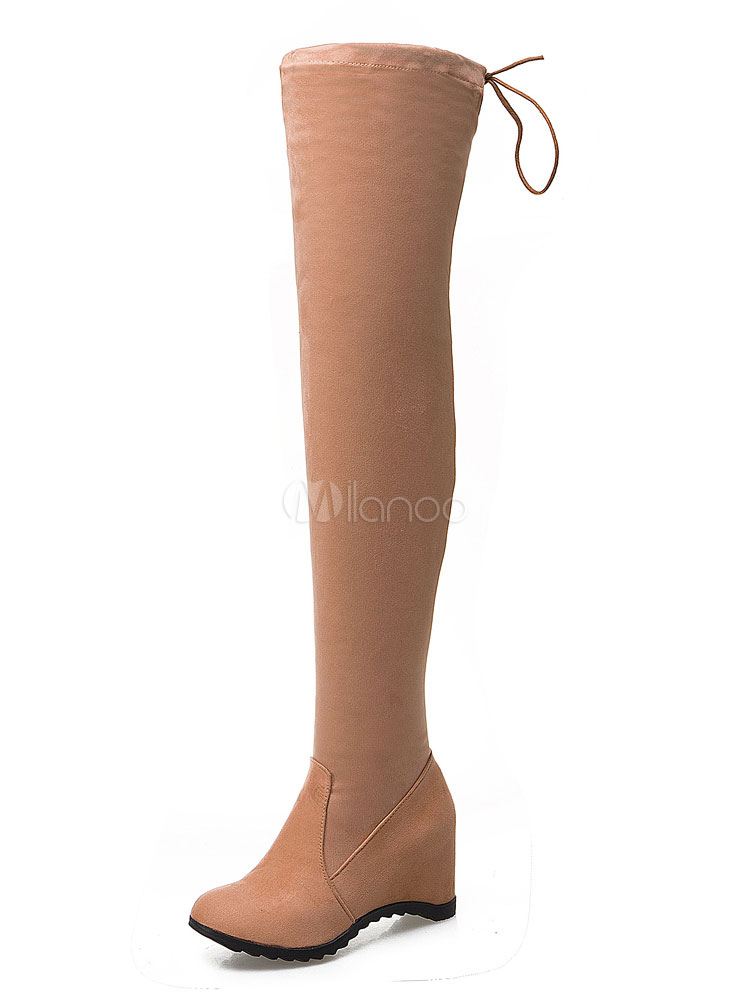 Over Knee Boots Women Stretch Boots Round Toe Slip On Wedge Thigh Boots