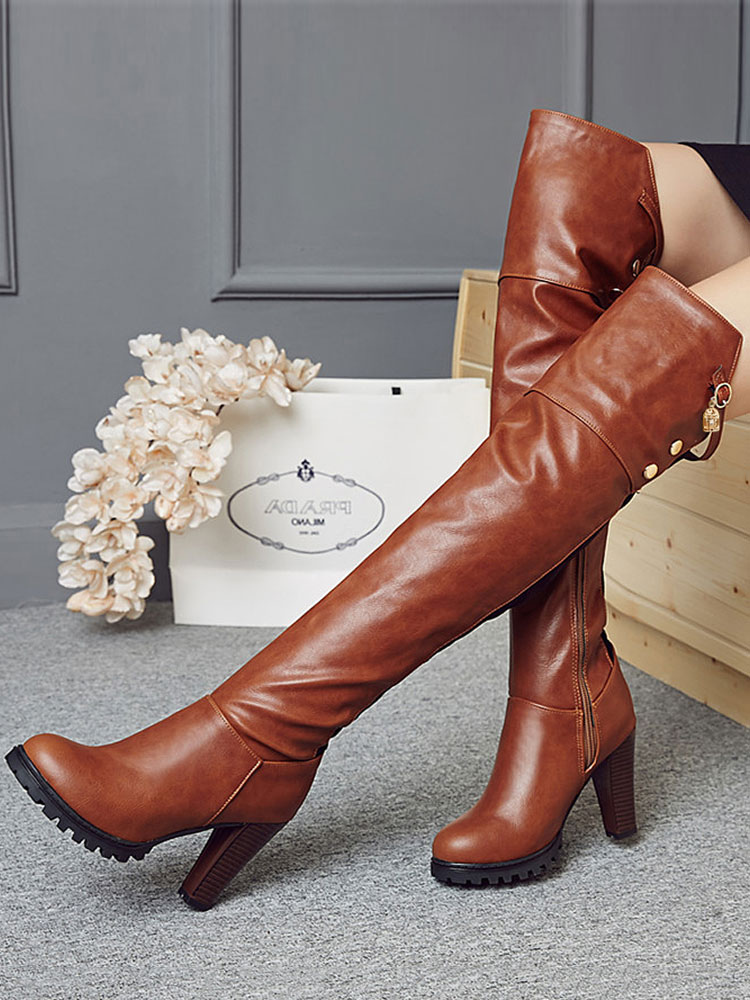 Over Knee Boots Brown Round Toe High Heel Boots Women Boots