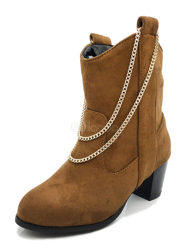 Buy Women Suede Boots Cowboy Boots Brown Round Toe Slip On Ankle Boots With Chain for $40.49 in Milanoo store