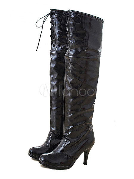 High Heel Boots Over Knee Boots Black Round Toe Lace Up Boots For Women