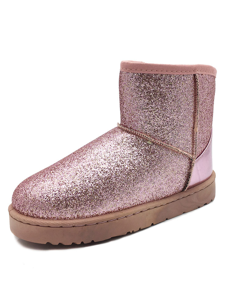 Grey Winter Boots Glitter Round Toe Slip On Snow Boots Women Shoes