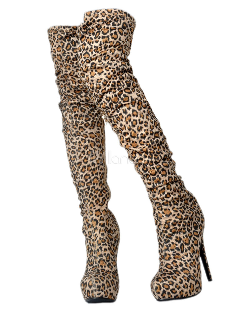 Women Sexy Shoes High Heel Over Knee Boots Leopard Platform Thigh High Boots