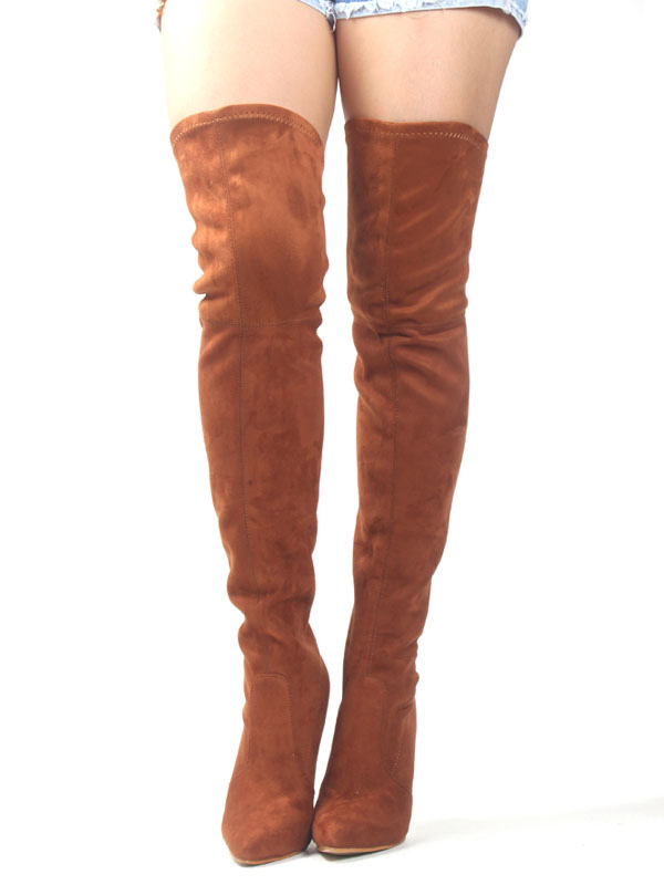 Thigh High Boots Brown Stretch Boots Pointed Toe High Heel Over Knee Boots For Women