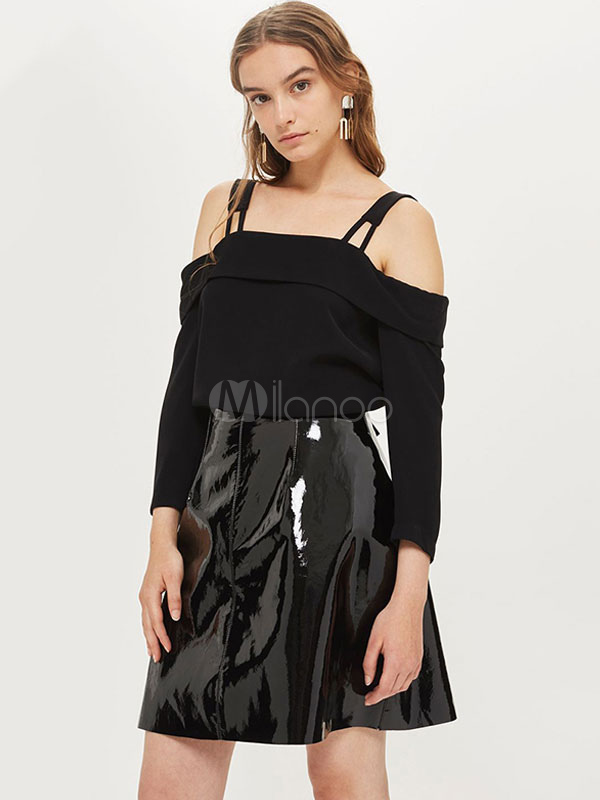 Buy Black Blouse Long Sleeve Straps Cold Shoulder Bows Women Top for $18.99 in Milanoo store