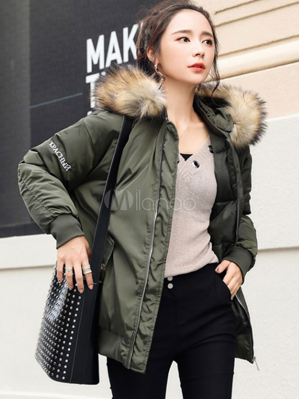 Buy Hooded Bomber Jacket Faux Fur Collar Coat Long Sleeve Embroidered Short Winter Coat For Women for $75.99 in Milanoo store