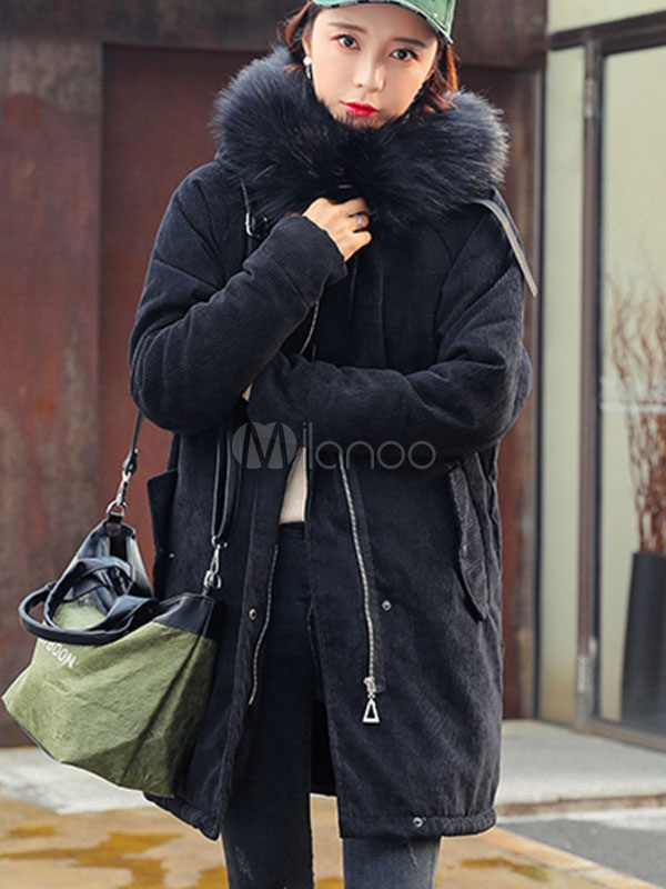 Buy Black Parka Jacket Hooded Faux Fur Corduroy Coat Oversized Long Sleeve Winter Jacket For Women for $99.74 in Milanoo store