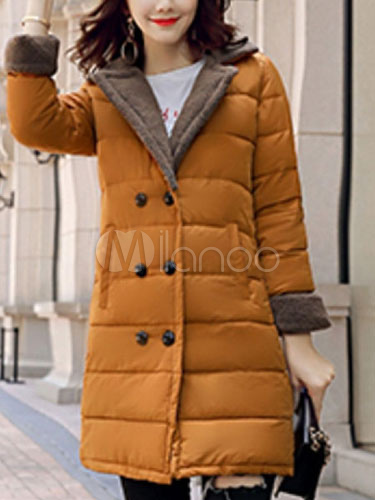 Buy Women Quilted Jacket Faux Fur Long Sleeve Notch Collar Shearling Coat Two Tone Orange Winter Coats for $61.74 in Milanoo store