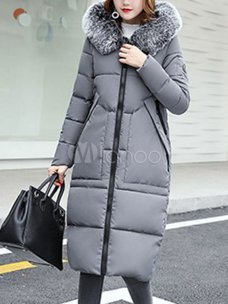 Buy Quilted Coat Hooded Grey Faux Fur Long Sleeve Women Padded Coat For Winter for $80.74 in Milanoo store