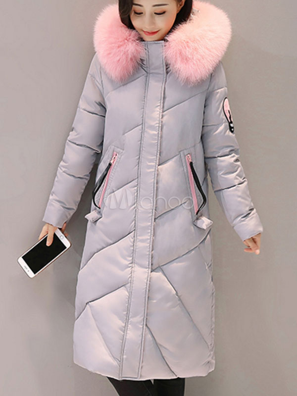 Buy Hooded Quilted Coat Grey Faux Fur Long Sleeve Embroidered Women Padded Coat For Winter for $71.24 in Milanoo store
