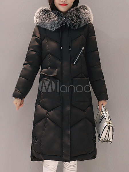 Buy Quilted Coat Black Hooded Faux Fur Collar Long Sleeve Women Padded Coat For Winter for $75.99 in Milanoo store