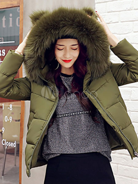 Buy Black Quilted Jacket Hooded Faux Fur Collar Coat Long Sleeve Short Women Padded Coat For Winter for $61.74 in Milanoo store