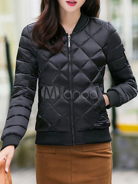 Buy Black Bomber Jacket Quilted Long Sleeve Stand Collar Women Slim Fit Short Padded Coat For Winter for $47.49 in Milanoo store