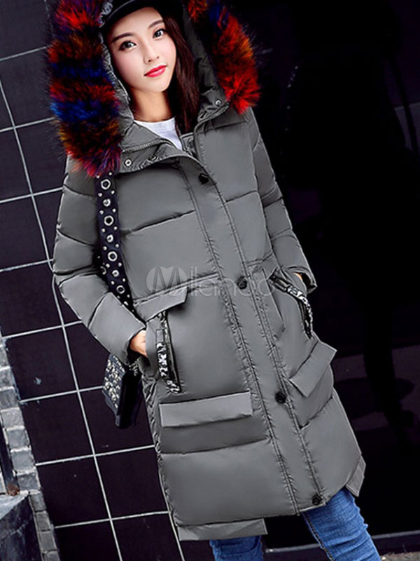 Buy Quilted Jacket Hooded Grey Faux Fur Collar Coat Long Sleeve Women Winter Coats for $90.24 in Milanoo store