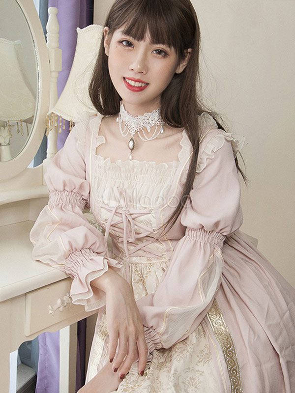 Buy Sweet Lolita OP One Piece Dress Neverland Square Neck Long Sleeve Ribbons Pleated Lace Up Ruffles Printed Pink Lolita Dress for $188.79 in Milanoo store