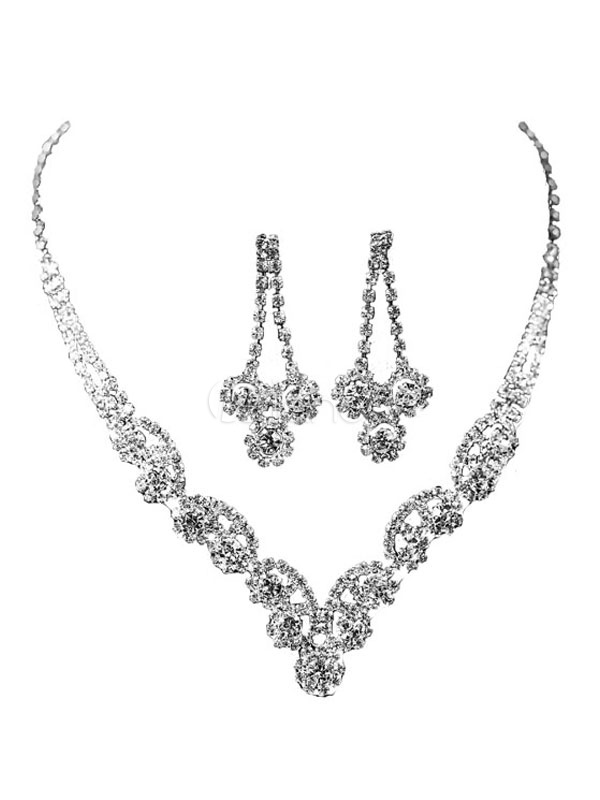 Silver Jewelry Set Wedding Rhinestones Lobster Claw Clasp Bridal Necklace With Earrings