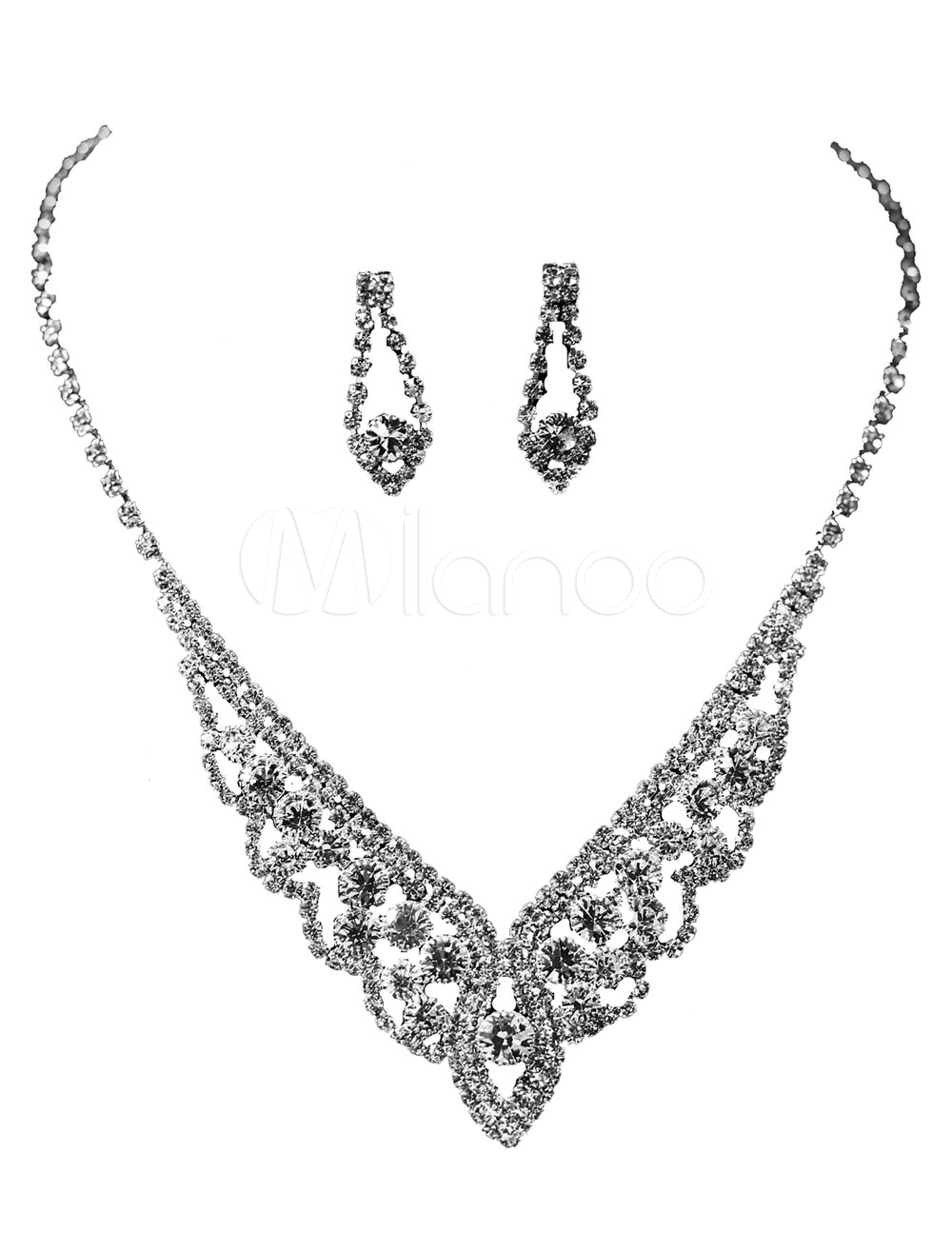 Silver Wedding Jewelry Set Rhinestones Bridal Necklace With Earrings