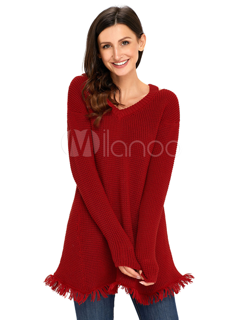 Women Knit Sweater Burgundy Long Sleeve V Neck Fringe Cut Out Pullover