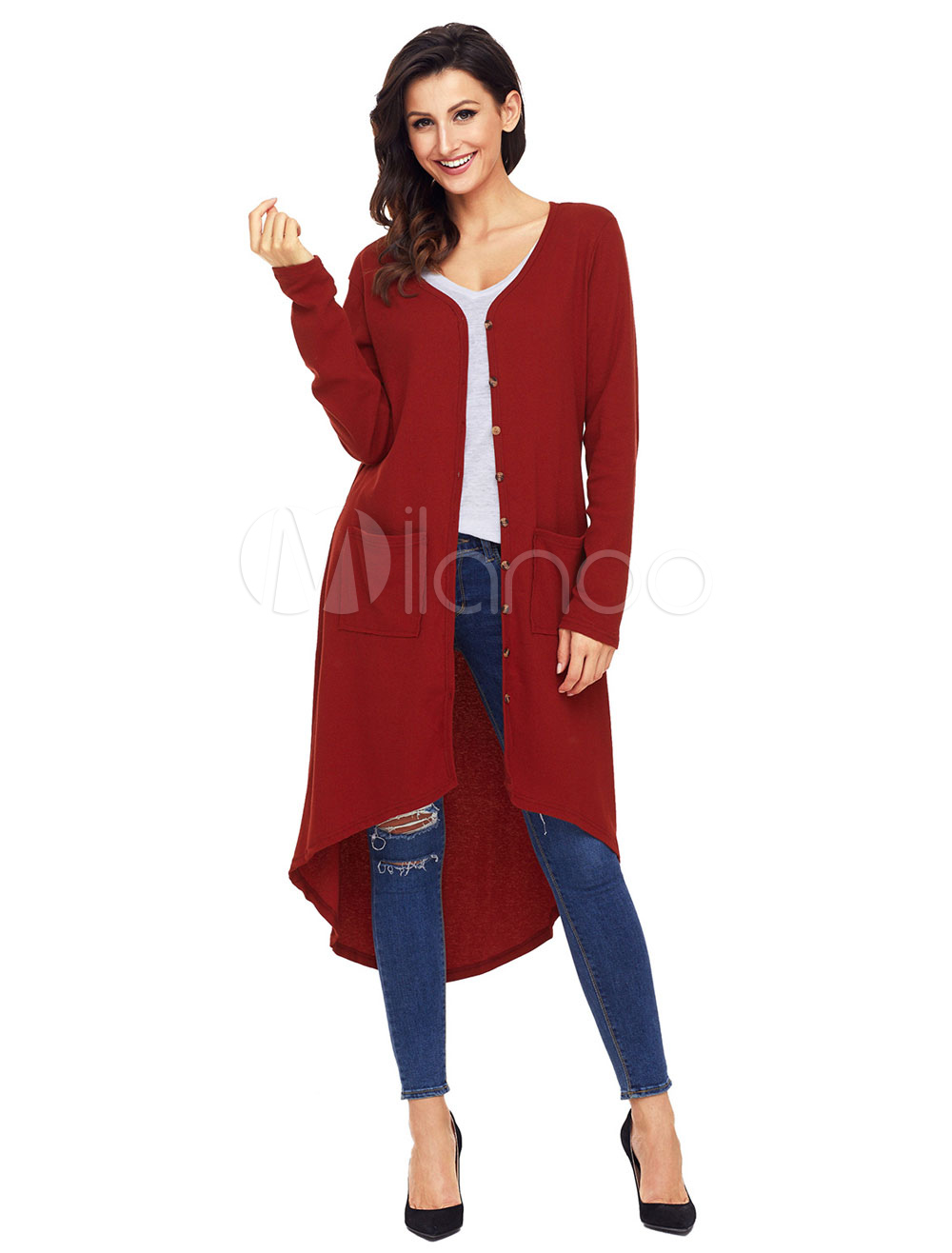 Women Long Cardigan V Neck High Low Burgundy Knit Wear