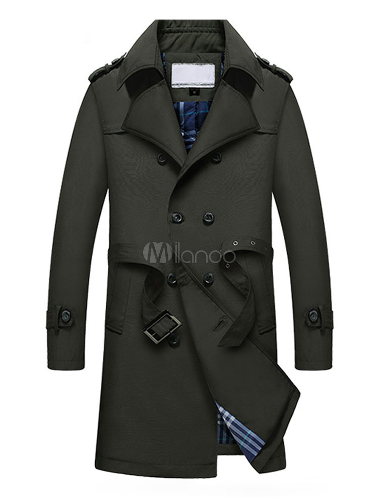 Men Trench Coat Black Casual Jacket Turndown Collar Long Sleeve Slim Fit Spring Coat