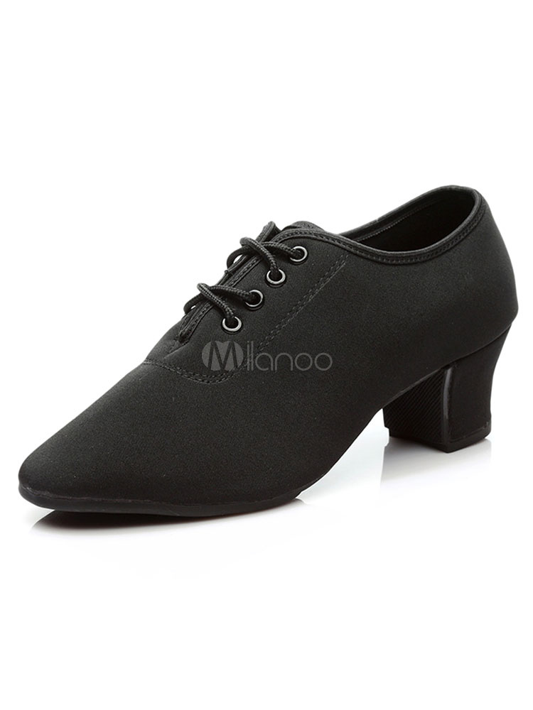 Latin Dance Shoes Black Ballroom Shoes Pointed Toe Chunky Heel Lace Up Women Shoes
