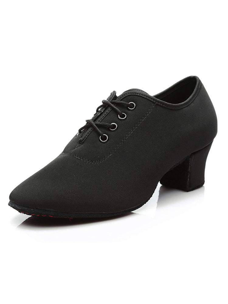 Chaussures De Danse Latine Graisse Tissu Bout Rond De Danse À Talons iv88NXz3