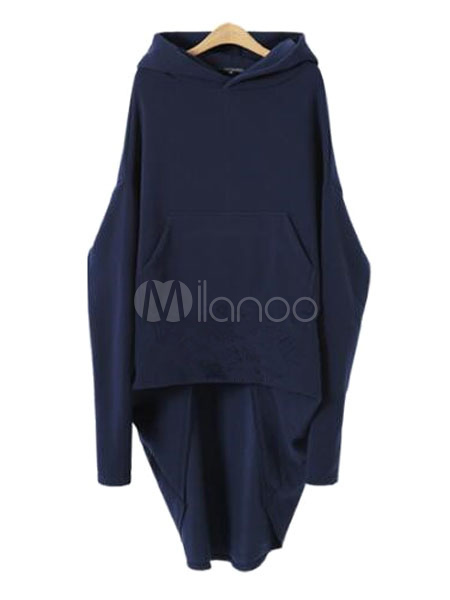 Women Hoodie Dress Hooded Deep Blue Long Sleeve High Low Pullover
