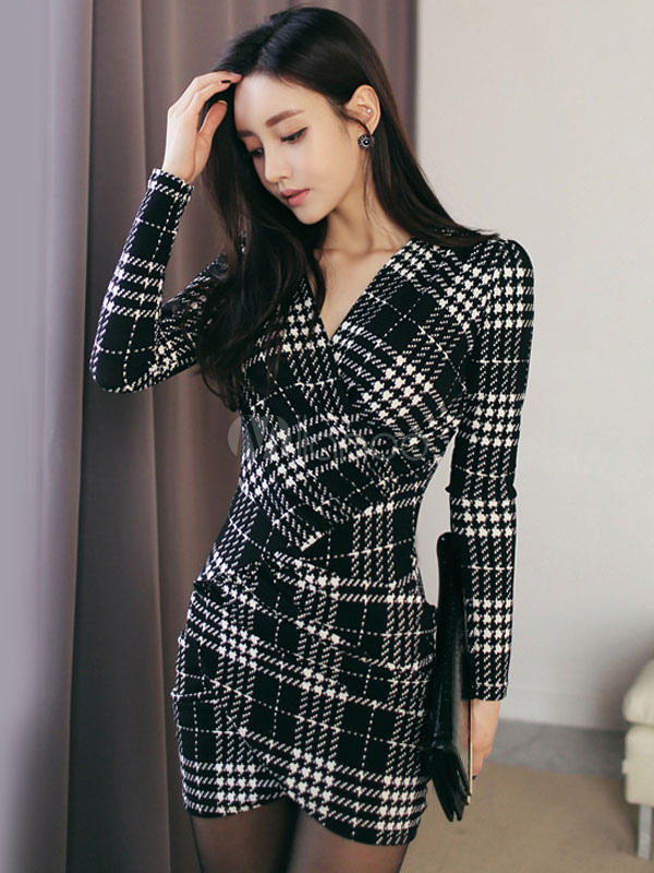 Buy Black Bodycon Dress Long Sleeve V Neck Plaid Mini Work Dress For Women for $28.79 in Milanoo store