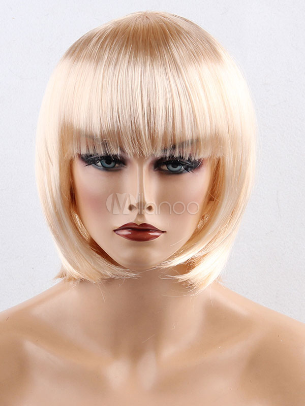 Blonde Bob Wig Layered Blunt Fringe Synthetic Carnival Wig Women Cheap clothes, free shipping worldwide