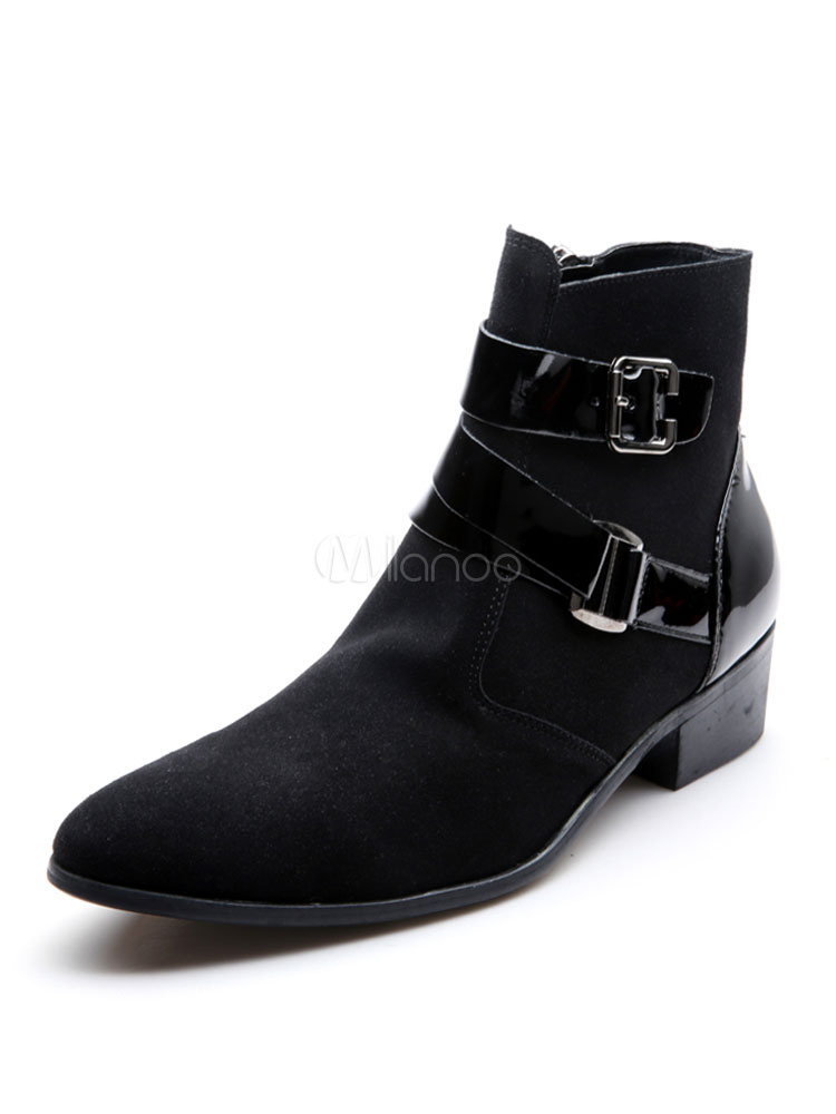 Buy Black Biker Boots Men Suede Boots Round Toe Buckle Detail Winter Boots for $39.99 in Milanoo store