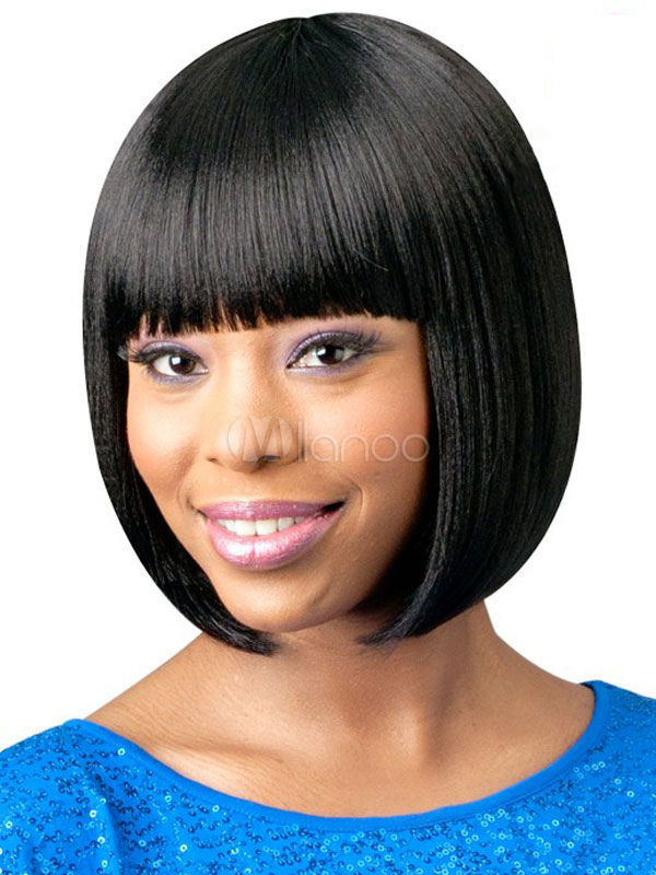 Short Bob Wig Blunt Fringe Layered Black Women Human Hair Wig Natural