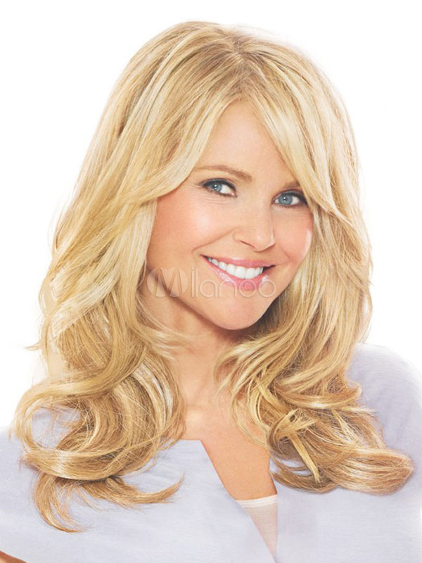 Natural Blonde Wig Side Swept Fringe Layered Full Volume Wave Long Women Human Hair Wig Cheap clothes, free shipping worldwide