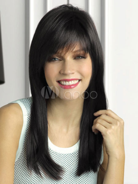 Straightened Long Layered Black Hair 60