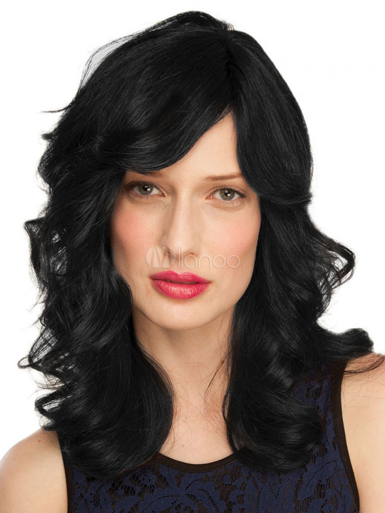 Buy Black Wigs Human Hair Side Swept Bang Barrel Curl Layered Long Natural Women Wig for $98.43 in Milanoo store