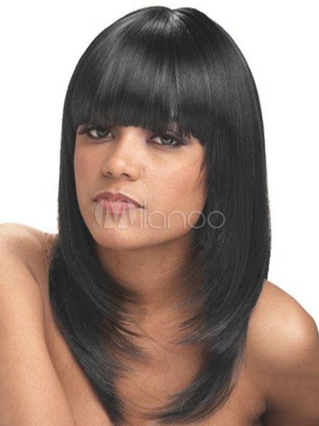 Wig Black Hair Layered Blunt Fringe Straight Long Women Human Hair Wig Natural