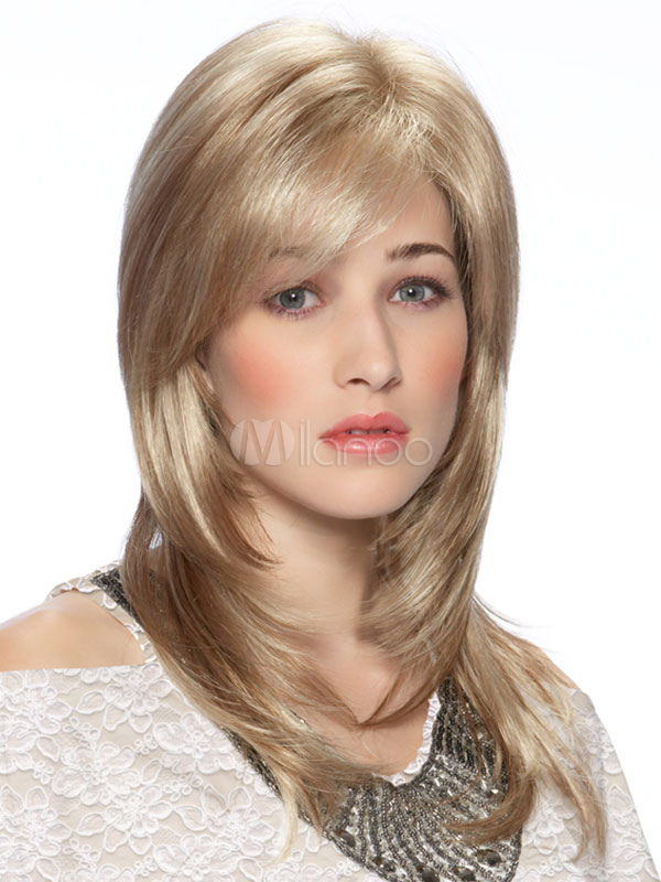 Women Blonde Wig Side Swept Bang Layered Straight Human Hair Wig Cheap clothes, free shipping worldwide