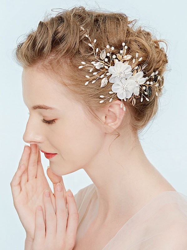 Flower Wedding Headpieces White Pearls Beading Bridal Hair Accessories