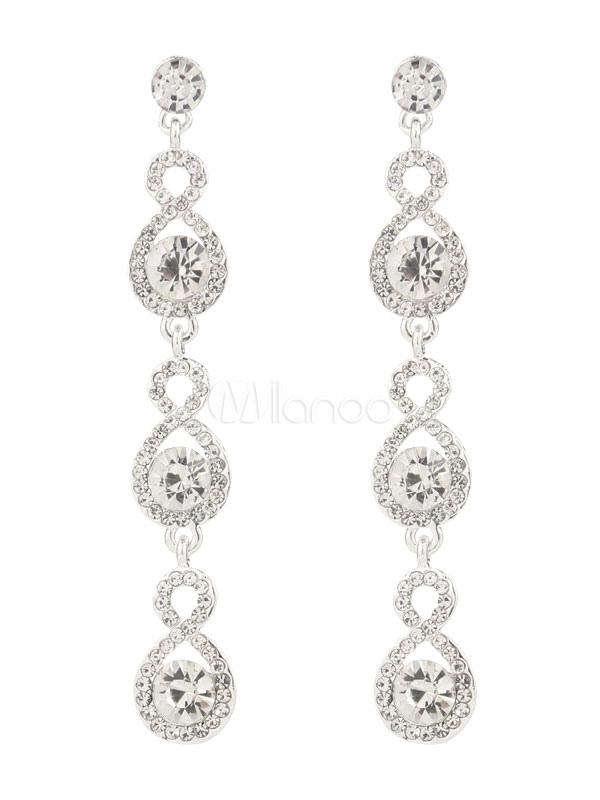 Silver Wedding Earrings Rhinestones Jewelry Beaded Bridal Long Earrings