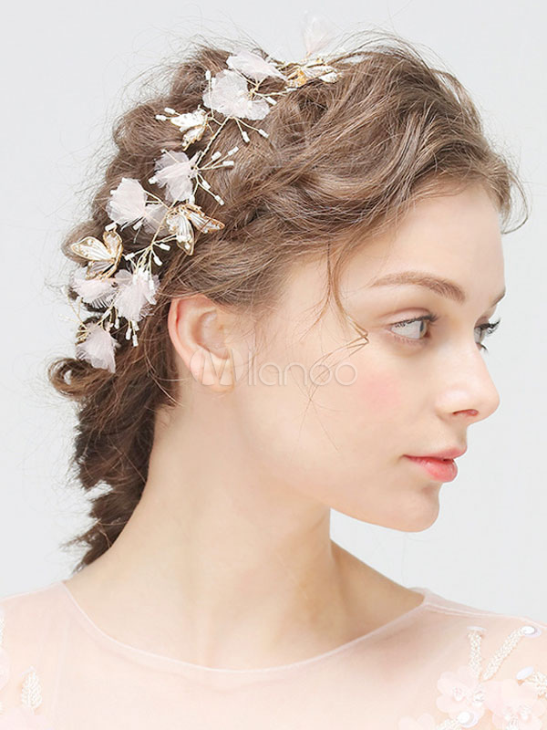 Wedding Headpieces White Handmade Headband Butterfly Flowers Bridal Hair Accessories