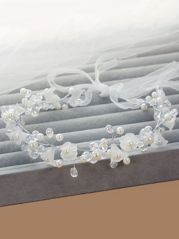 Buy White Wedding Headpieces Pearls Headband Ribbon Beaded Bridal Hair Accessories for $9.89 in Milanoo store