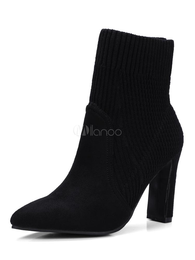 noire et femme Boots épais nubuck unicolore talons en à bout pointu Bottine zVSqpLGUM