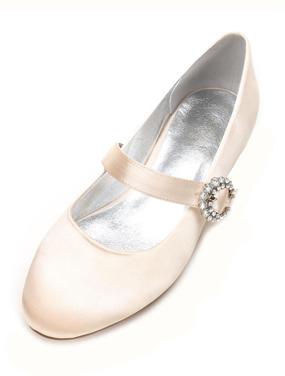 Champagne Bridesmaid Shoes Satin Wedding Shoes Round Toe Rhinestones Mary Jane Wedding Guest Shoes