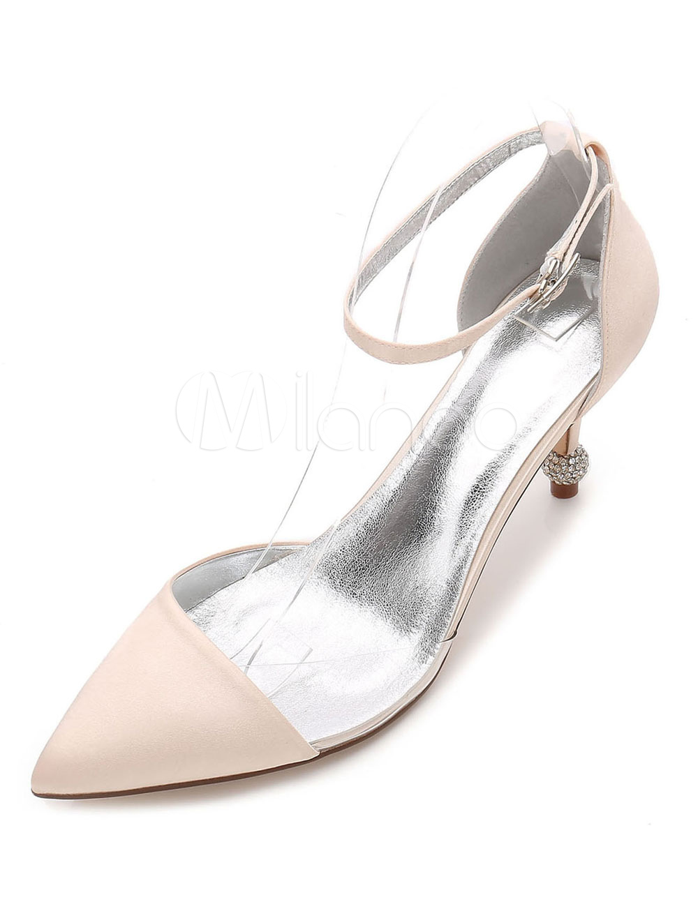 Champagne Wedding Shoes Satin Bridesmaid Shoes Pointed Toe Ankle Strap Heels