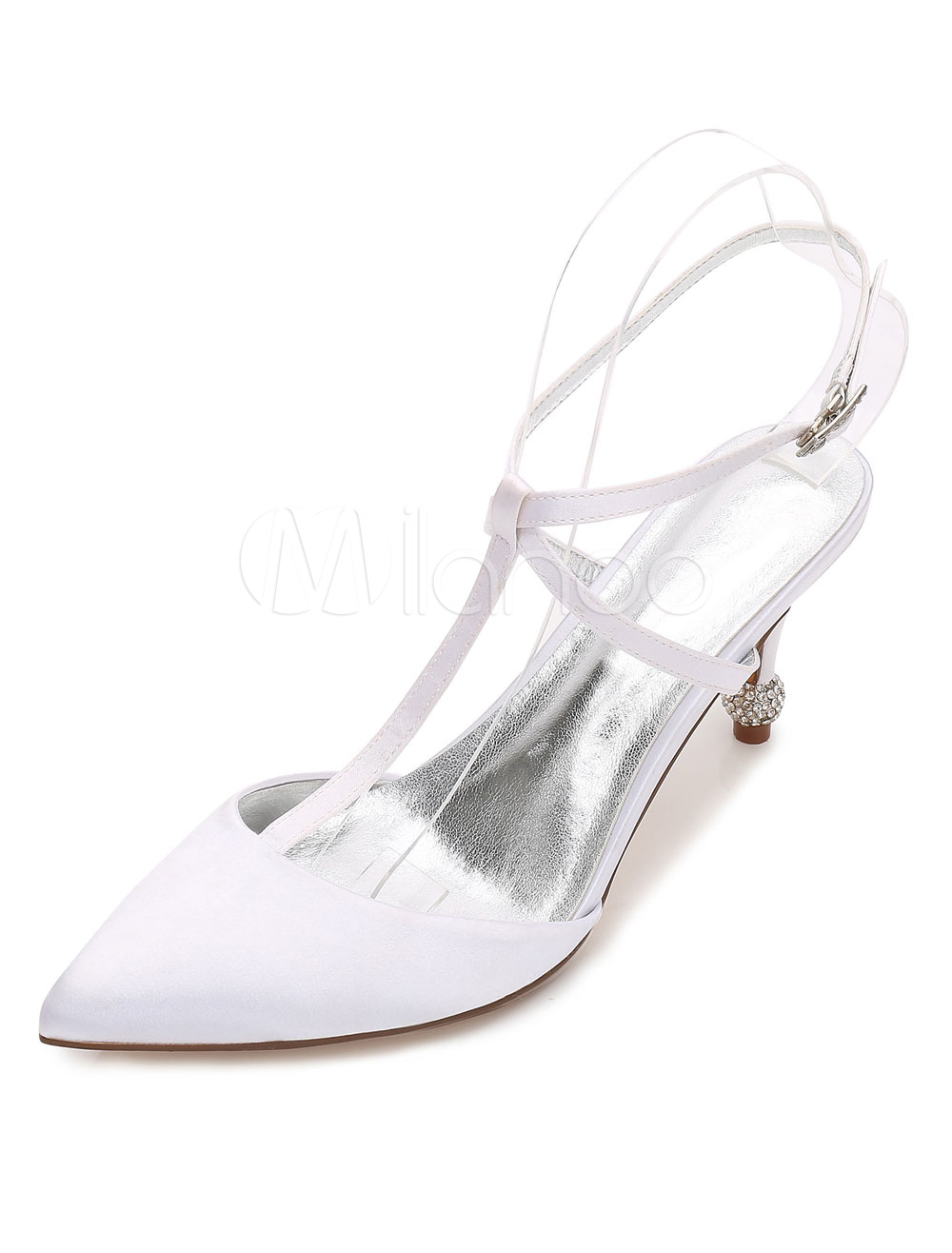 Ivory Wedding Shoes Satin Pointed Toe Heels Women T Type Slingbacks Bridal Shoes