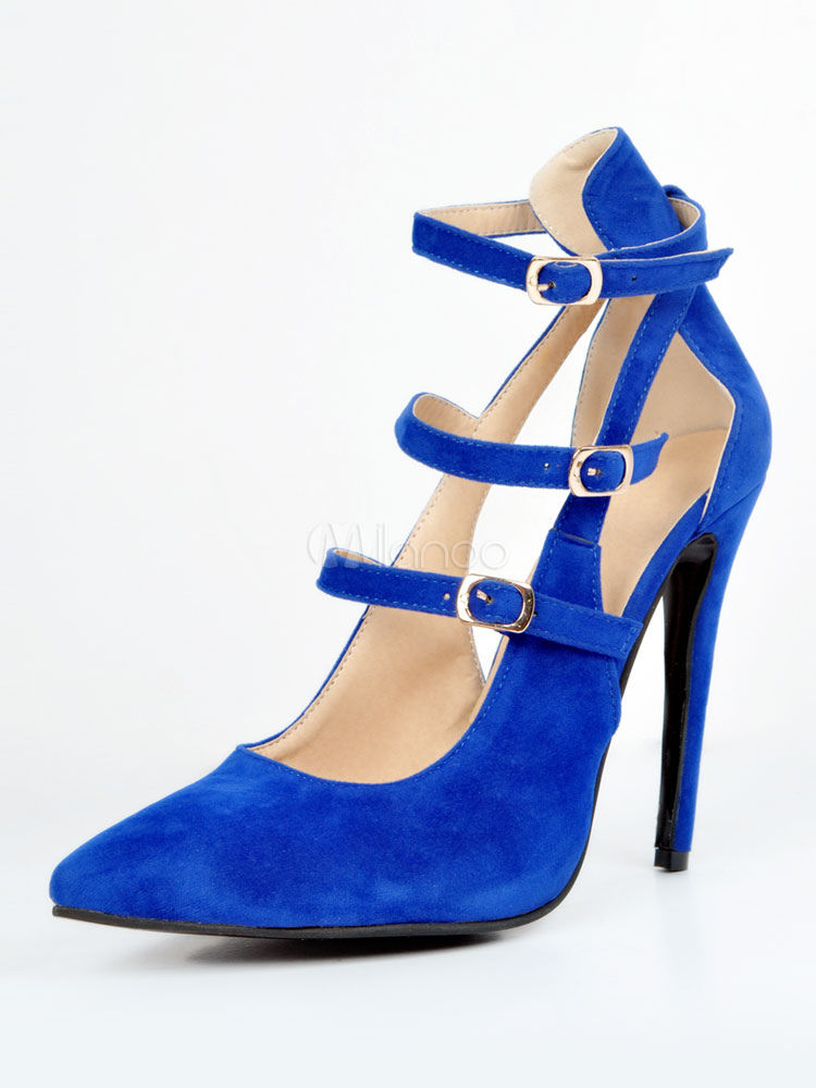 Buy Women High Heels Pointed Toe Heels Royal Blue Buckle Detail Stiletto Heels for $55.79 in Milanoo store
