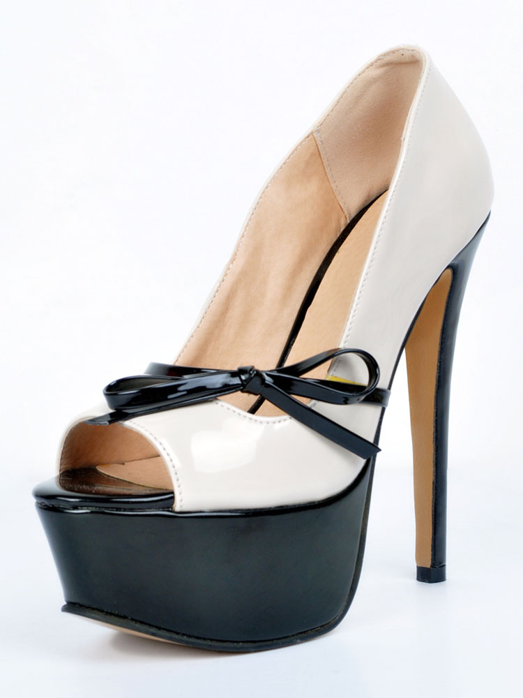Buy White High Heels Platform Peep Toe Bow Slip On Pumps Women Shoes for $59.99 in Milanoo store