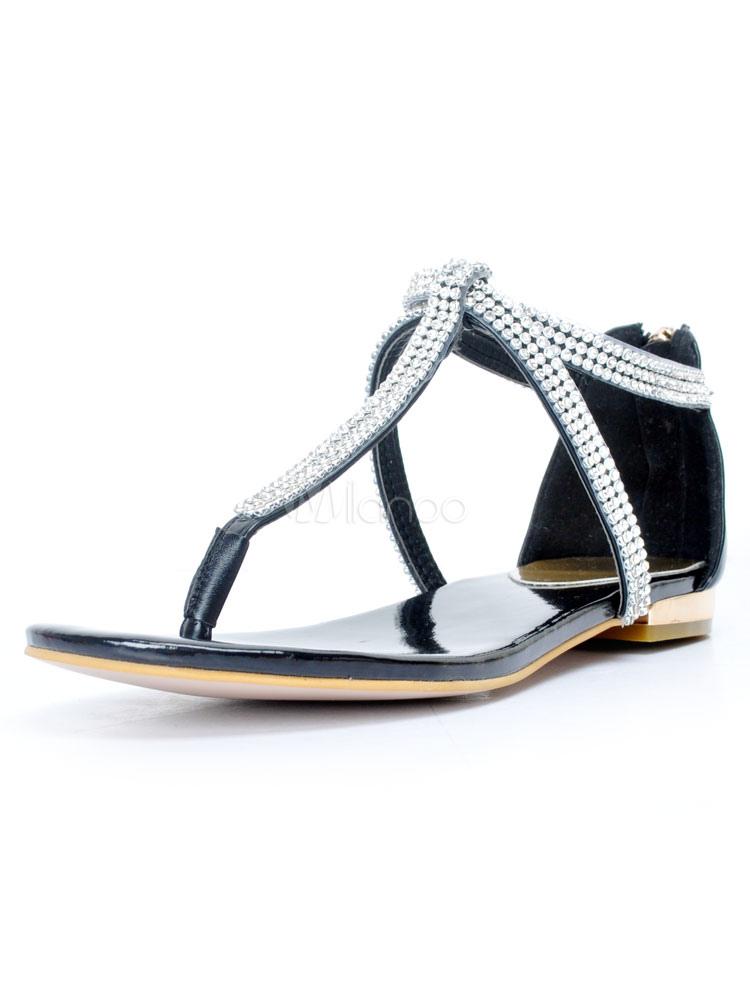 Unicolore Avec Féminine Été Sandales Pour Noir Mode Strass Femme jLq5c34AR