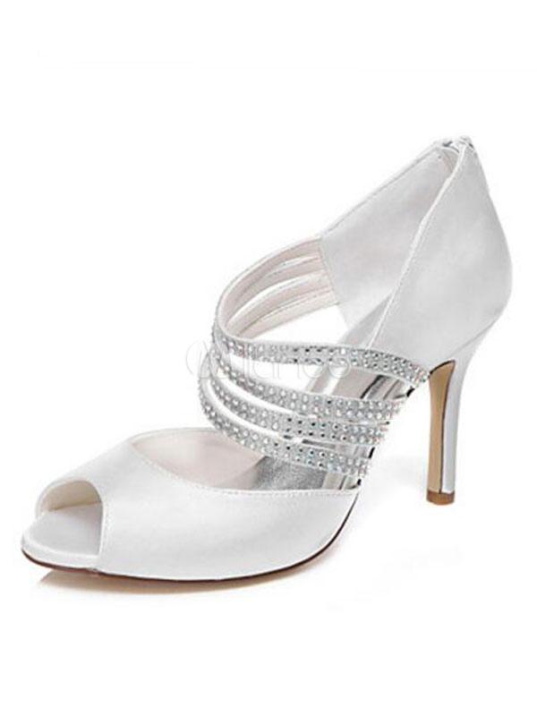 White Wedding Shoes Satin Peep Toe Rhinestones Strappy Bridal Shoes Women High Heels