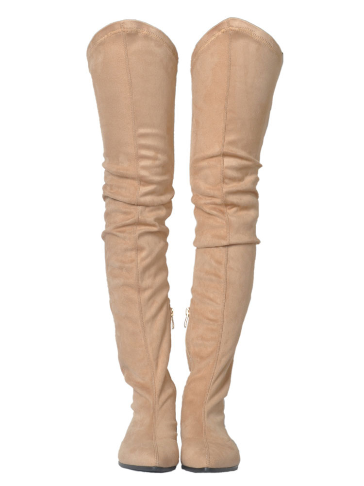 Over Knee Boots Women Boots Apricot Pointed Toe Zip Up Thigh High Boots
